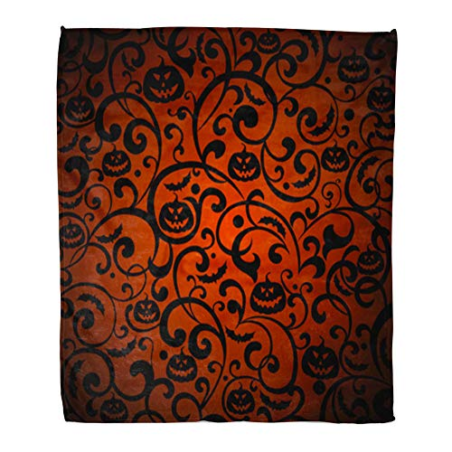 Emvency Throw Blanket Warm Cozy Print Flannel Orange Pattern Halloween Vintage Silhouette Bat Comfortable Soft for Bed Sofa and Couch 60x80 -