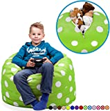 """Stuffed Animal Storage Bean Bag Chair in Chartreuse with White Polka Dots. FILL IT, ZIP IT AND SIT IN IT! Clean Up the Room in Style AND Get Yourself a Premium 95"""" Bean Bag Chair For Free!"""