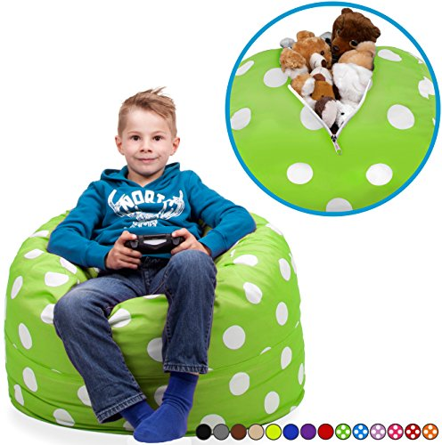 """Animal Floor Pillows (Stuffed Animal Storage Bean Bag Chair in Chartreuse with White Polka Dots. FILL IT, ZIP IT AND SIT IN IT! Clean Up the Room in Style AND Get Yourself a Premium 95"""" Bean Bag Chair For Free!)"""