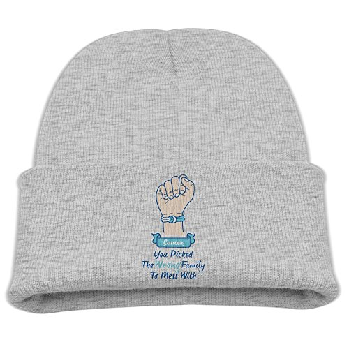 DYNHG Hey Cancer You Picked The Wrong Family To Mess Fashion Beanie Hats Flat Brim Winter Knit Cap Roll For Children