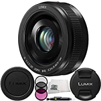 Panasonic LUMIX G 20mm f/1.7 II ASPH. Lens (Black) (White Box) with 3 Piece Filter Kit (UV+CPL+FLD), Lens Cleaning Pen and Microfiber Cleaning Cloth