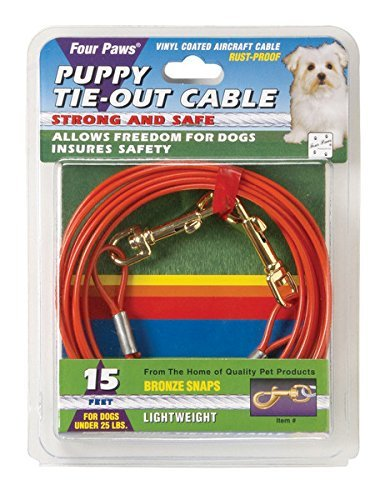 15ft Puppy Cable Tie Out (Four Paws 15 Foot Puppy Dog Tie Out Cable by Four Paws)