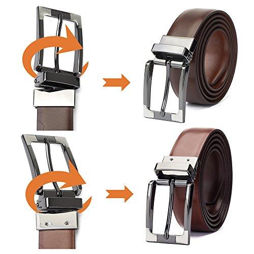 """Tanpie Reversible Belt for Men Dress Belt Leather 1 1/8"""" Wide Rotated Buckle Brown/Tan XL by Tanpie (Image #3)"""