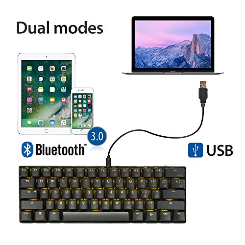 LeaningTech LTC K61 61-Key RGB LED Backlit Bluetooth Wireless/Wired Multi-Device Mechanical Keyboard for PC / Mac / iPad / iPhone / Smartphone / Laptop, Brown Switch by LEANINGTECH (Image #3)