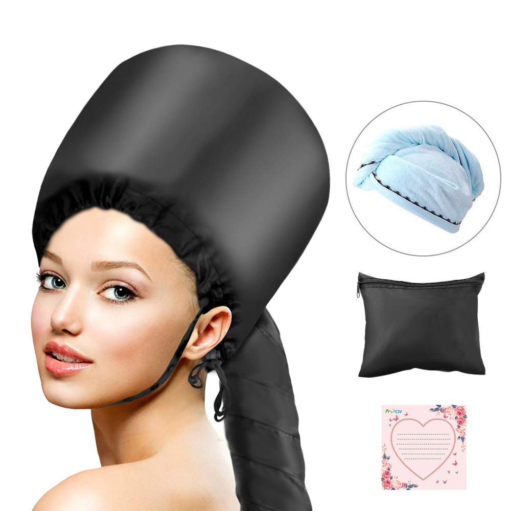 Bonnet Hood Hair Dryer Attachment, ProCIV Soft Bonnet Hooded Hair Dryer Hand Free for Natural Curly Hair Care Deep Conditioning Cap Styling Curling Updated Extended Hose Length With Blue Dry Towel