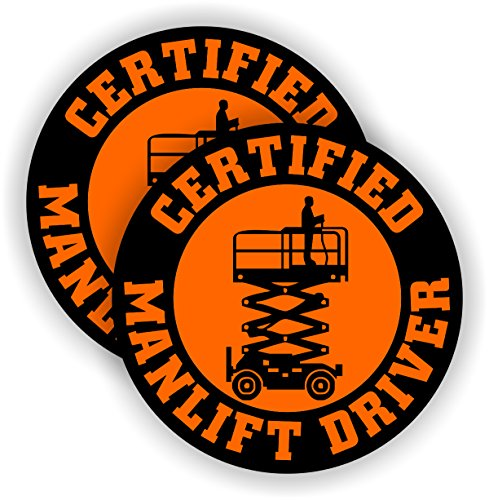 Certified Manlift Driver Hard Hat Sticker | Decal Helmet Label Operator Man - Lift Decal