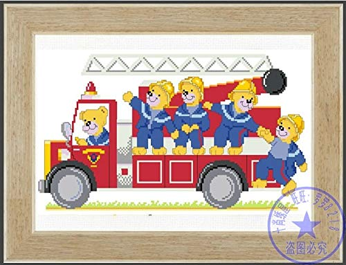 Zamtac Top Quality Lovely Counted Cross Stitch Kit Birth Record Certificate Baby Teddy Bear Bears Fireman Fire Engine Bus - (Cross Stitch Fabric CT Number: 18CT unprint Canvas)