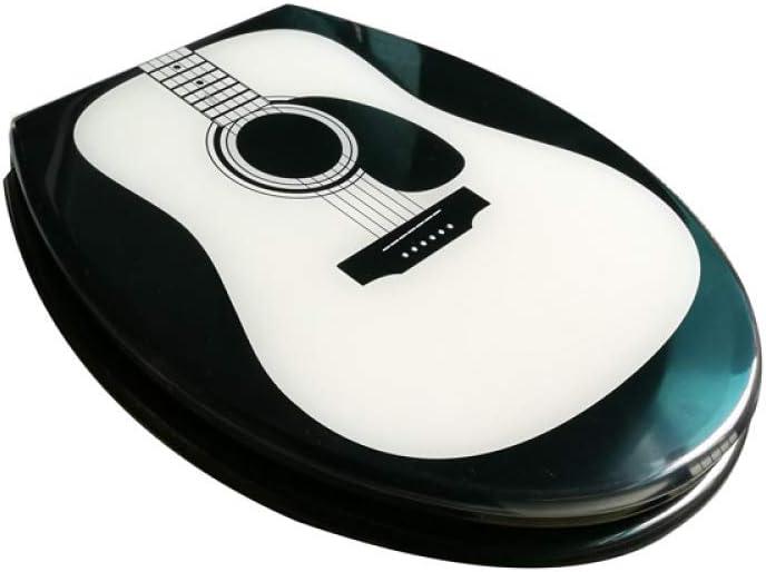 NMDD Asiento de Inodoro Tapa de Inodoro de Guitarra Linda con desaceleración Resina de urea-formaldehído Ultra Resistente Superior Forma Fija de U/V/O Cubierta de Inodoro Compatible Onecolor-