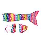 Girls Mermaid Swimsuit,Asixx 3pcs Swim Mermaid Tails for Girls Suitable for Various Occasions,Combined with a Swimming Flipper (110)