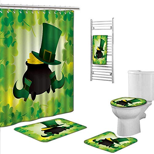 Prints decorate the bathroomIncludes (Toilet mat Three-piece suit + 1 shower curtain + 1 bath towel) size:S-St. Patricks Day Decor Leprechaun Hat and Shoes Costume with Pot of Gold with Shamrock Lea - Lea White Adult Shoes