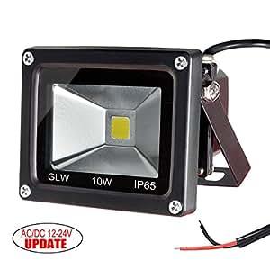 GLW 10w 12v Ac or Dc Warm White Led Flood Light Waterproof Outdoor Lights 750lm 80w Halogen Bulb Equivalent Black Case
