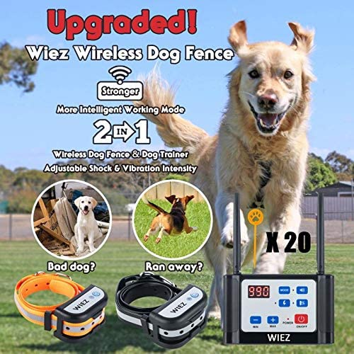 WIEZ Wireless Dog Fence Electric Training Collar 2-in-1, Dual Antenna, Adjustable Range Control 100-990 ft, Adjustable Warning Strength, Rechargeable,Harmless for All Dogs,for Outdoor-2 Collars