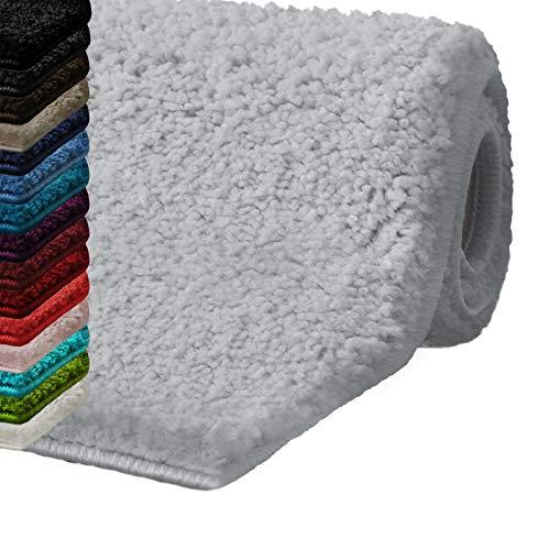 casa pura Bath Mats for Bathroom – 20″ x 32″ Light Gray Bathroom Rug | Ultra Absorbent, Self-Dry Microfiber, Non-Slip Bath Mats for Floors | Bathroom Rugs in 10 Fresh Colors