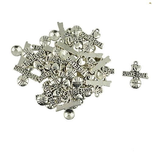(Dovewill 30 Pieces Tibetan Silver I love Basketball Heart Charms For Jewelry Making)