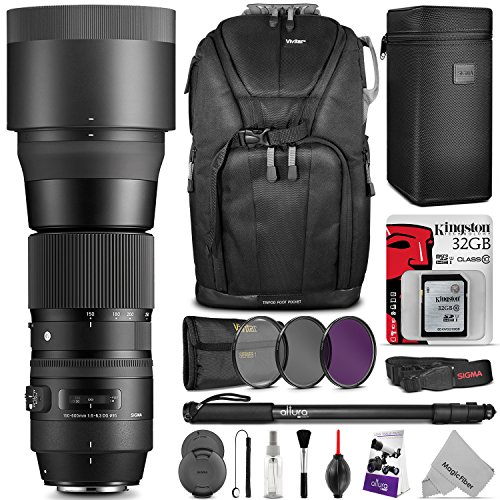 Price comparison product image Sigma 150-600mm 5-6.3 Contemporary DG OS HSM Lens for CANON DSLR Cameras w / Advanced Photo and Travel Bundle