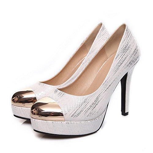 VogueZone009 Damen Rund Zehe Stiletto Gemischte Farbe Ziehen auf Pumps Schuhe Weiß