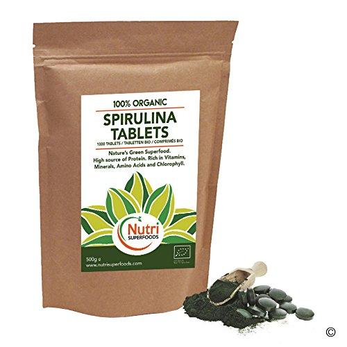 Espirulina Ecológica Comprimidos 1000 x 500mg. Alga Pura Tabletas ricas en Clorofila y proteína vegana (500g): Amazon.es: Salud y cuidado personal