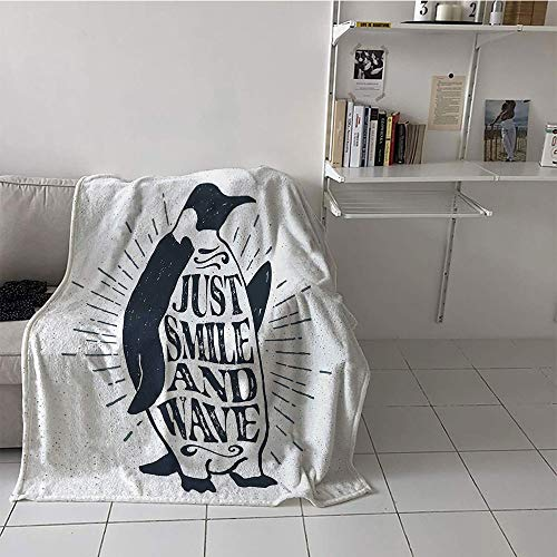 (Khaki home Children's Blanket Boys Warm Blanket (60 by 62 Inch,Inspirational,Vintage Artwork with Emperor Penguin and Just Smile and Wave Quote Print,Black White )