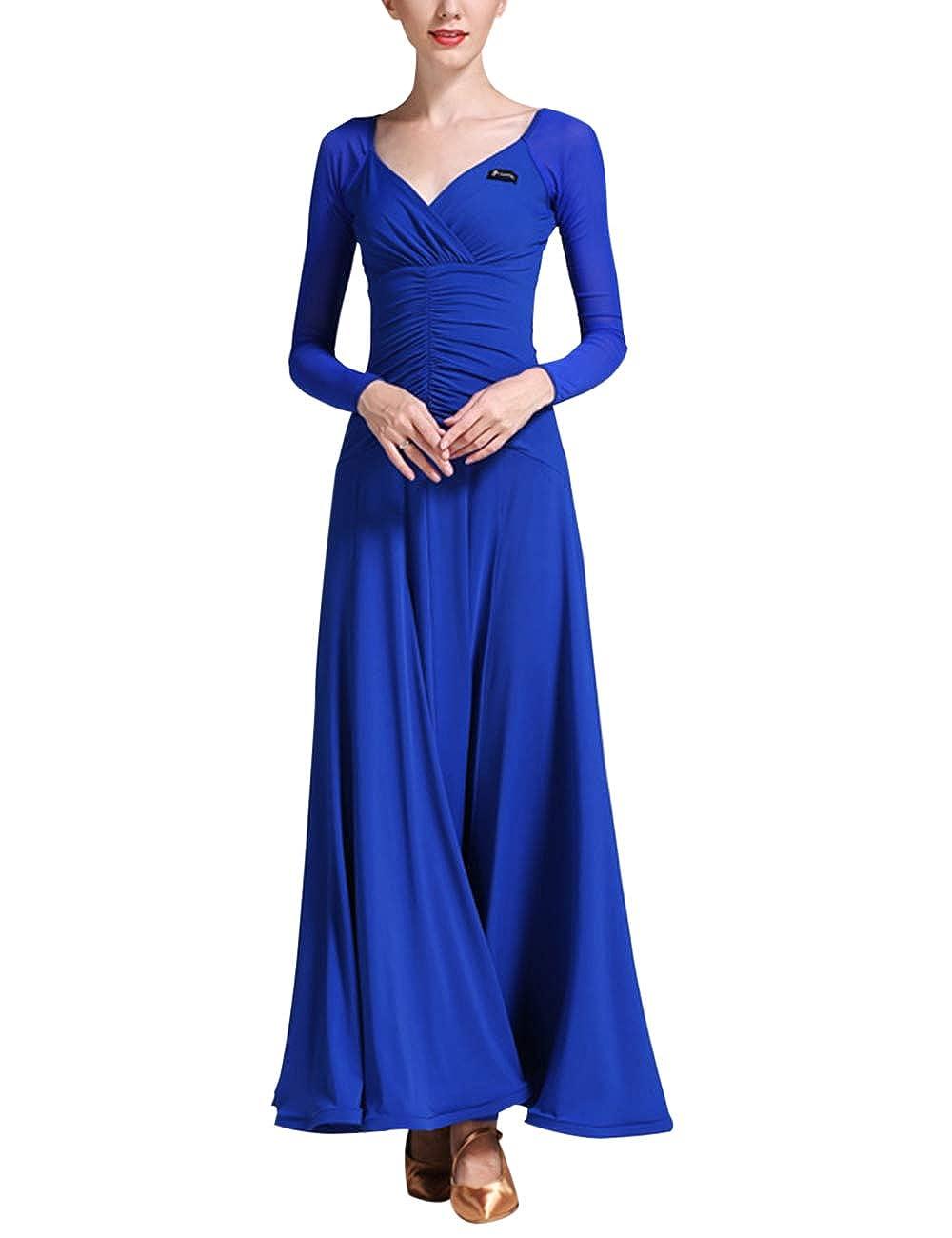 Dark bluee Zhhlinyuan Womens Waltz Modern Dance Dress  VNeck Latin Ballroom Dancing Dresses