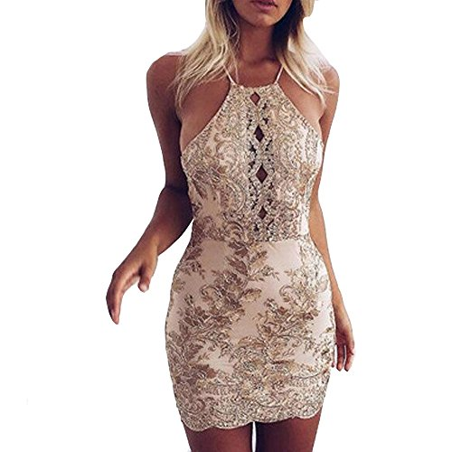 Price comparison product image Charberry Womens Strap Gold Thread Embroidery Lace Back Dress Party Short Mini Dress (US-10/CN-XL, Khaki)