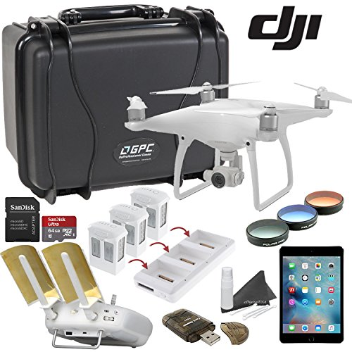 DJI Phantom 4 Platinum Bundle: Includes Apple iPad Mini 4, Go Professional Wheeled Hard Case, Range Extender/Booster, Filters, 3 Batteries, Charging Hub and more... by eDigital USA