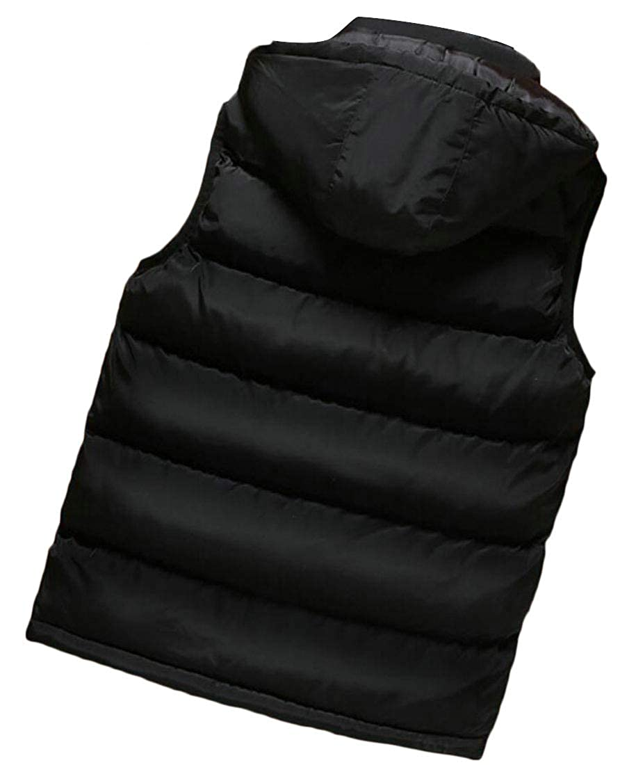 XQS Mens Hooded Solid Sleeveless Pocket Jacket Down Vest
