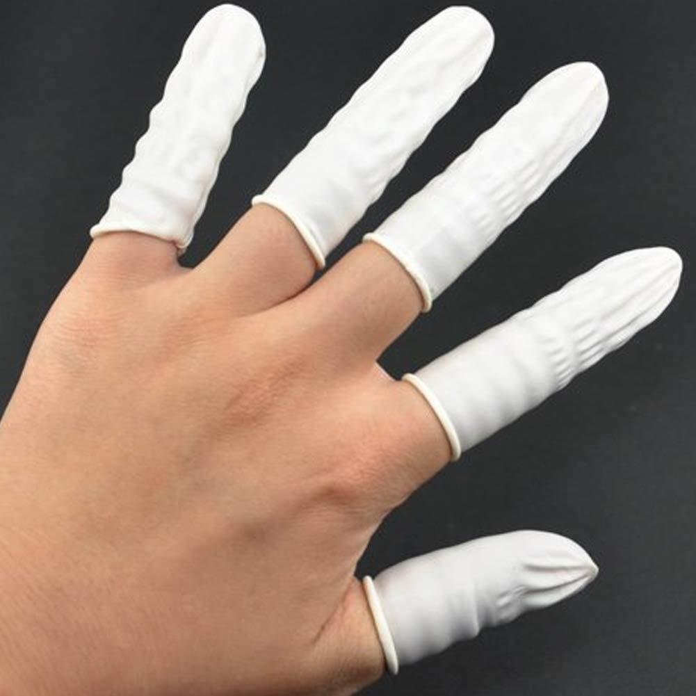 100 St/ück wei/ß Durable Einweg Latex Fingerlinge Fingertips-Schutz-Handschuhe f/ür Elektronische Reparatur Reinigung Schmuck