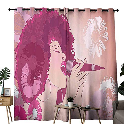 duommhome Music Insulated Curtains Afro Woman Singing Jazz Songs on Exotic Floral Background Performance Art Suitable for Living Room Bedroom W96 xL84 Magenta Peach Coral