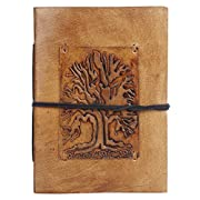 Amazon Lightning Deal 83% claimed: Rustic Town Ancient Tree of Life Embossed Small Leather Journal Leather Diary Gifts for Him Her Poet Artists
