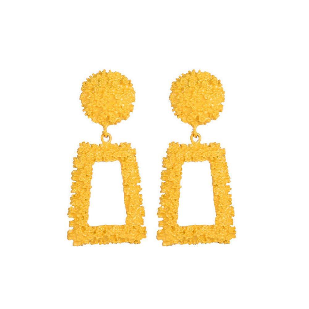 Geometric Trapezoidal Earrings for Women Girls, Long Vintage Fancy Wedding Bohemian Valentine's Day Gift (Yellow)