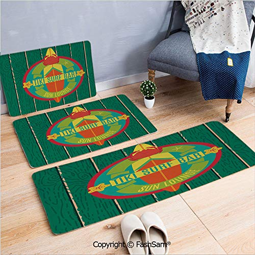 3 Piece Non Slip Flannel Door Mat Tiki Surf Bar Sun Lounge Holiday Vacation Theme Surfboard Crab Starfishes Decorative Indoor Carpet for bath Kitchen(W15.7xL23.6 by W19.6xL31.5 by W15.7xL39.4) ()