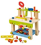 EverEarth Toddler Workbench with Tools. Wooden Building Set Hammer Toy