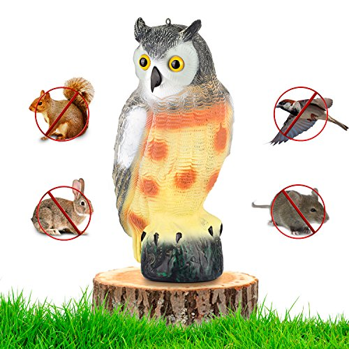 Large Scarecrow Owl Decoy Statue By briteNway  Realistic Fake Owl Outdoor Pest & Bird Deterrent, Hand-Painted Garden Protector, Scares Away Squirrels, Pigeons, Rabbits & More  16,5 Hollow Design