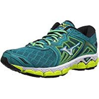 Mizuno Women's Wave Sky Running Shoes (Tile Blue/Silver/Safety Yellow)