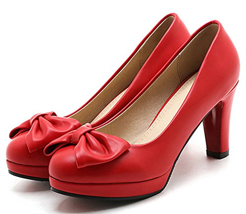 Idifu Kvinna Eleganta Höga Klossklackar Halka På Pumpar Med Rosetter Röd