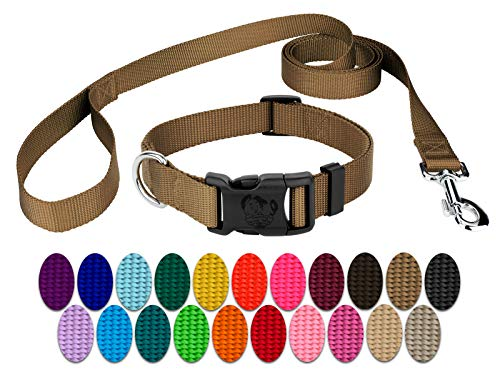 Country Brook Design 3/4 Inch Deluxe Nylon Dog Collar & Leash - Coyote Tan - M