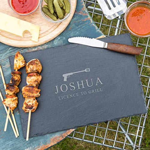 Personalized Slate Cutting Board in Wood or Slate - 'License to Grill' James Bond Gifts for Men - Personalized Cooking Gifts for Men - BBQ Gifts for Men - Grilling - Engraved Slate