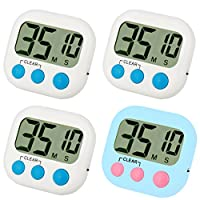 Kitchen Timer 4 Pack Small Digital Electronic Loud Alarm, Magnetic Backing, ON/OFF Switch, Minute Second Countdown, White, Blue and Orange