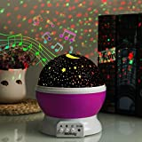 Music Star Night Light Lamp Projector,Children's Night Lighting Lamp, Rotating Star Projector, 4 LED Bulbs 8 Colorful Changing Mode with 6.5ft USB Cable, Unique Lamp for Children Birthday Parties Pink