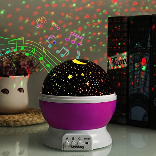 Music Star Night Light Lamp Projector,Children's Night Lighting Lamp, Rotating Star Projector, 4 LED Bulbs 8 Colorful Changing Mode with 6.5ft USB Cable, Unique Lamp for Children Birthday Parties Pink by First-E-02