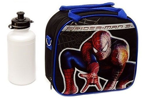 (New Marvel Spider-man Lunch Box Bag with Shoulder Strap and Water Bottle!! Black by 5StarService)