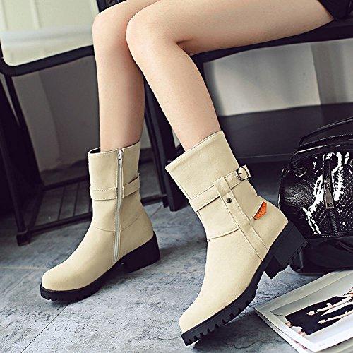 Latasa Womens Monk Strap Chunk Heels Short Johpur Boots Beige 7fKVhIy