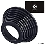 Step Up Lens Filter Adapter Rings - Set of 9 - Allows You to Fit Larger Size Lens Filters on a Lens with a Smaller Diameter - Sizes: 37-49, 49-52, 52-55, 55-58, 58-62, 62-67, 67-72, 72-77, 77-82 mm