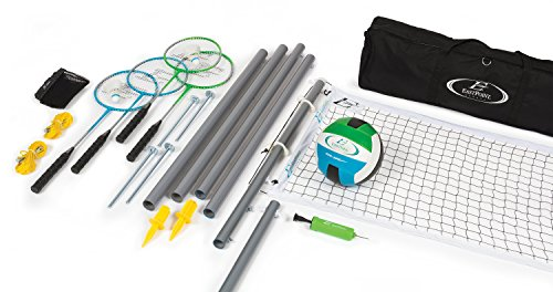 EastPoint Sports Deluxe Volleyball Badminton Net Set - Features Weather Proof Material and a Full Set Storage Bag - Includes 1 Volleyball, 4 Badminton Rackets, and 2 Badminton Shuttlecocks