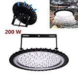 200W UFO LED High Bay Light lamp Factory Warehouse Industrial Lighting 20000 Lumen 6000-6500KIP65 Warehouse LED Lights- High Bay LED Lights- Commercial Bay Lighting for Garage Factory Workshop Gym