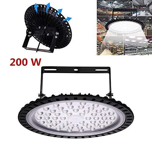 200W UFO LED High Bay Light lamp Factory Warehouse Industrial Lighting 20000 Lumen 6000-6500KIP65 Warehouse LED Lights- High Bay LED Lights- Commercial Bay Lighting for Garage Factory Workshop -