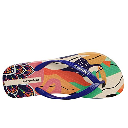 Flip Women's Deep Graffiti amp; Prints Colorful Cartoon Slippers Beach Blue Sandals Flops Hotmarzz Summer qwd4CzqW