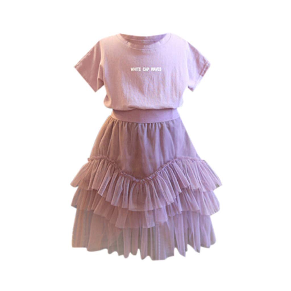 NUWFOR Toddler Kids Baby Girl Outfits Clothes Letter Print T-Shirt Tops+Tulle Skirt Set(Pink,2-3 Years)