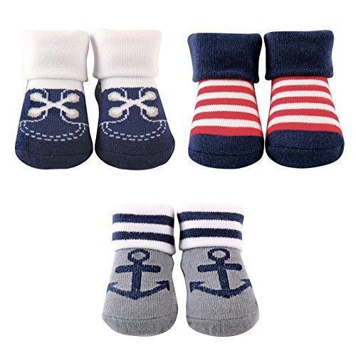 Luvable Friends 3-Pack Little Shoe Socks Gift Set, 3 Pieces, Nautical -