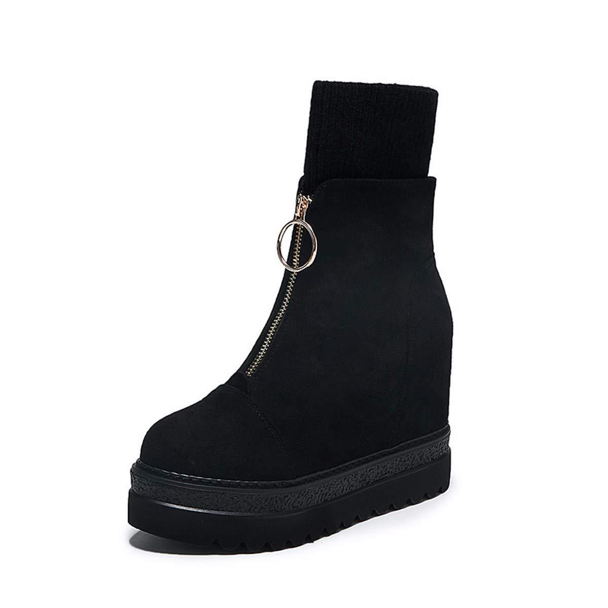 LBTSQ-Mode Damenschuhe - Unten Slope Ferse Mit Hohen 12Cm Dicke Hintern Kurze Stiefel Grundwasser - Reißverschluss Warme Stiefel.